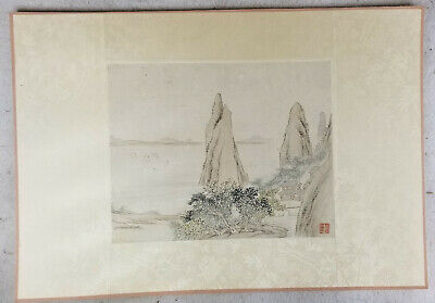 Antique Chinese Republic Watercolor Scroll Painting Landscape Signed Seal