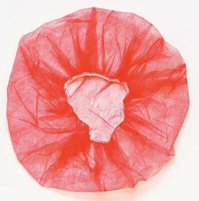 """1000 ct Disposable Bouffant Cap - Polypropylene, Latex Free - 24"""" RED"""