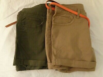 """NWT 2 Pair Faded Glory 1 Beige 1 Green 4.5"""" Core Stretch Shorts Womens Size 16"""