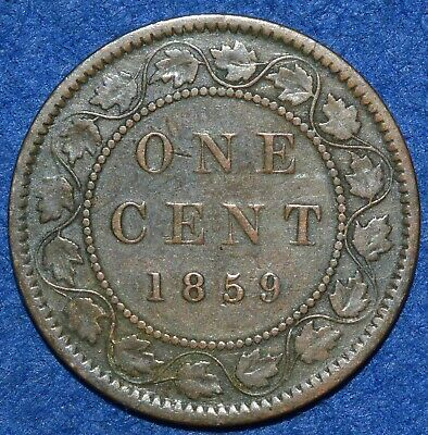 Canada large Cent 1859 Good grade KM#1 Queen Victoria
