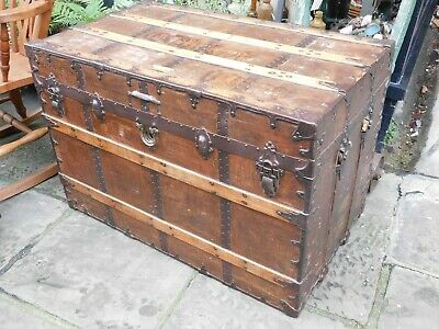 Antique Trunk C A Taylor Chicago / Victorian 1883 / Very Large / Solid Pine.