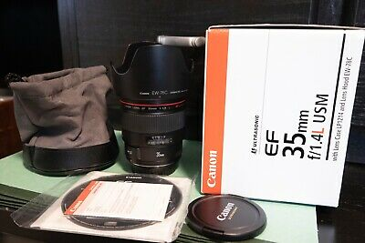 Canon EF 35mm f/1.4L  USM Lens with protect filter, box and all accessories