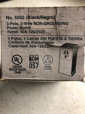 Leviton 5050 50A 125V/250V 3P 3W Surface Mount Power Outlet