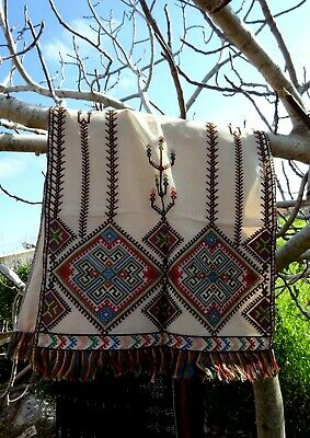 An Mid 20th Century Cretan Embroidery on Netting Panel Small Curtain or Wall Art