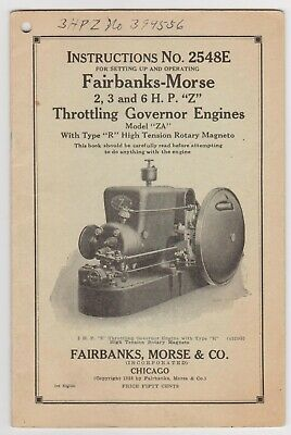 Fairbanks Morse Instructions 2548E 2 3 and 6 HP Z Throttling Governor Engines