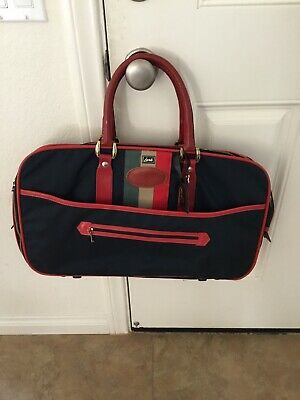 Vintage 1970's Lark Luggage Expandable Carryon Navy With Red Trim Three Locks