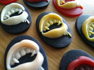 BN Vampire Fangs Resin Cabochon / Cameo 10 pcs - Gothic Jewellery