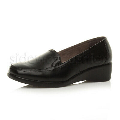 Womens ladies mid low heel leather smart work wedge pump loafers shoes size