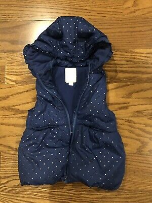 Gymboree Girls Size 5T Navy Puffy Vest Jacket With Hoodie
