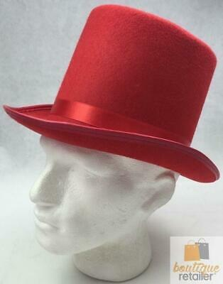 RED TOP HAT Costume Mad Hatter Party Fancy Dress Magician Formal Trilby Fedora
