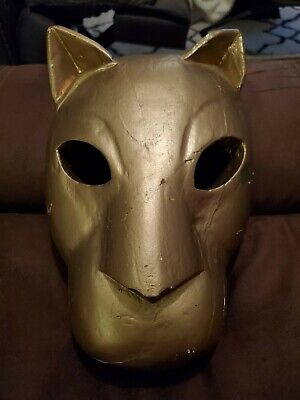 Vintage Hand Carved Cheetah/Cat/Cougar...wooden Mask ~ Heavy