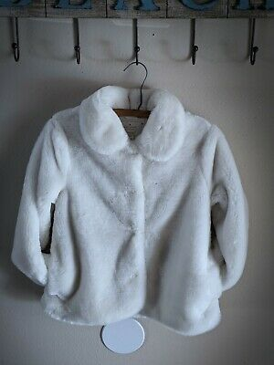 Kate Spade Girls Cream Faux Fur Lined Fuzzy Coat Super Soft Size 10