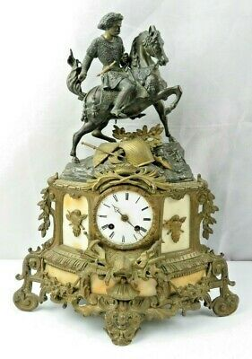 Antique French Bronze Alabaster Clock Charles Martel on Horse Japy Frères Paris