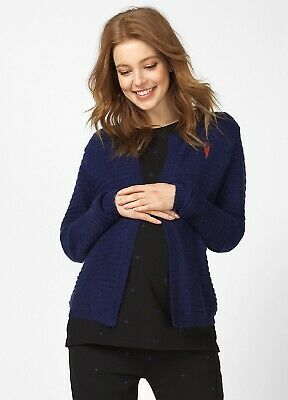 Queen mum - Textured Knit Heart Maternity Pregnancy Cardigan in Blue
