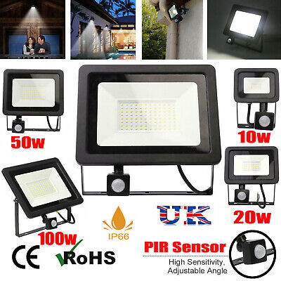 LED Floodlight Motion Sensor Security Power Wall Light Outdoor PIR Flood Light