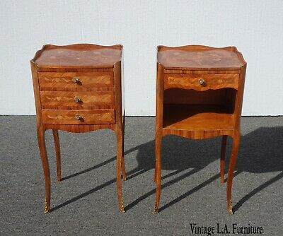 Pair of Vintage French Louis XVI Rococo Nightstands w Decorative Inlay & Ormalu