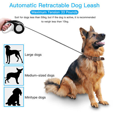 3m 5m Automatic Retractable Pet Dog Puppy Lead Extending Leash Rope Cord to 50kg