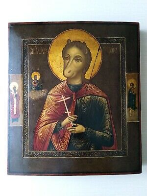 Antique 19c Russian Orthodox Hand Painted Wood Icon «St. Christopher» SYZRAN!!!