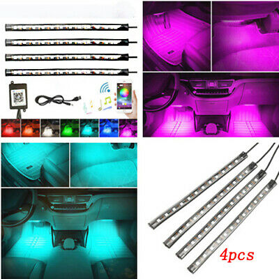 "12V 4x 9"" 5050  12LED RGB White Blue Red Car Caravan Boat Interior Strip Lights"