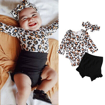 Newborn kids Leopard Print Romper Infant Baby Girls backless Floral Romper  SA