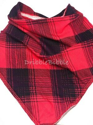 ❤ Special Needs Disabled Dribble Bib Bandana Teen Dog Medium ❤ Red Navy Check ❤