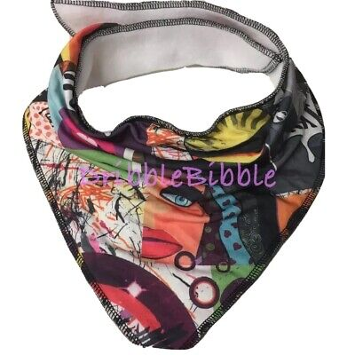 ❤ Special Needs Disabled Dribble Bib Bandana Child Teen Medium ❤ Cartoon Pop Art