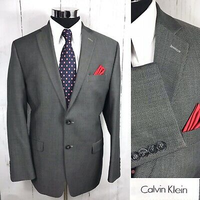Calvin Klein Mens 42R Gray Double Vent Wool Sport Coat Blazer Jacket