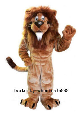 Adult Carnival Deluxe Lion Mascot Costume King Of Forest Birthday Party Dress uk