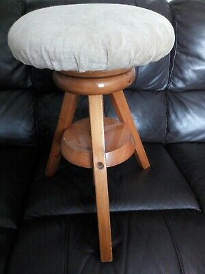 Vintage Wooden Spinning Stool Architect Draughtsman