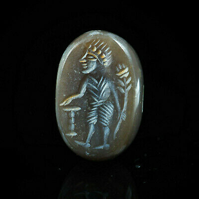 Antique Agate Earth Tone Signet Intaglio Egyptian Man Holding Flower Stamp Bead