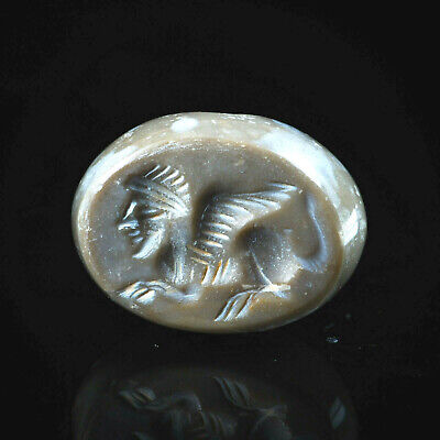 Antique Agate Neat Carved Griffin Sphinx intaglio Signet Dome Seal bead Stamp