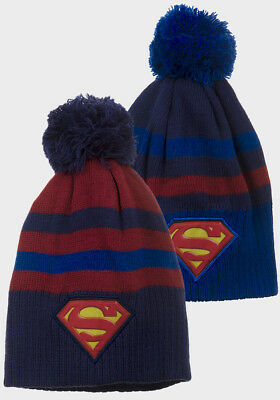 NWT Superman Kids Boys Pom Bobble Winter Knitted Hats Beanie Cap Red Blue 3-8 yr