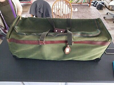 ORVIS BATTENKILL 34x13x13 Large Green Canvas Rolling Duffle Bag Luggage Leather