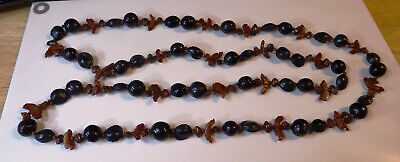 Unusual Antique / Vintage Chinese Nut / Bead Carved Long Necklace 60Cm Lovely