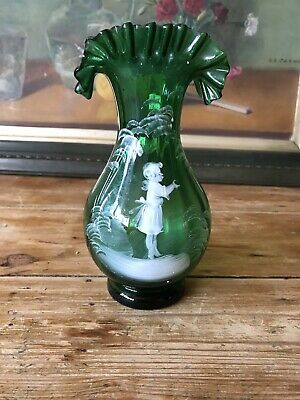 Antique Mary Gregory Emerald Green Glass Hand Blown Vase