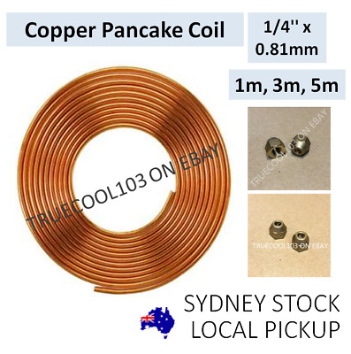 """1m, 3m, 5m, 1/4"""" x 0.81mm, Copper Pancake Coil, Pipe Tube, with flare nuts"""