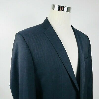 Ben Sherman Mens 42L Suit Jacket 10% Wool Black Pinstriped Two Button Vented