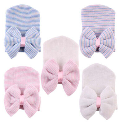 Baby Girls Infant Colorful Striped Cap Hospital Newborn Soft Beanie Hat with Bow