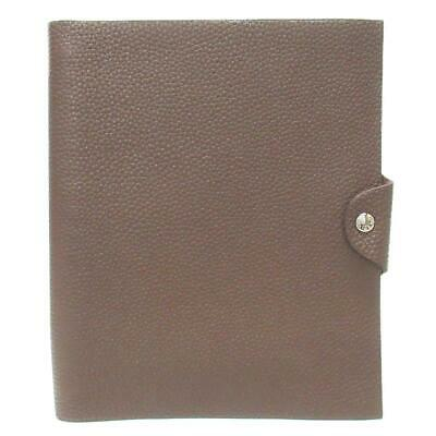 HERMES Ulysse MM Notebook Cover Togo Calfskin Leather Brown with Refill
