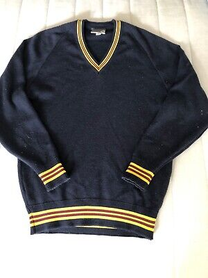 Secondary College School Navy Jumper Yellow Maroon Trim Wool Vneck Size 18