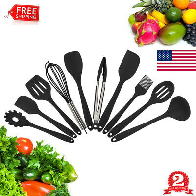 10x Stainless Steel Kitchen Utensil Set Serving Tools Heat Resistant Non-Stick