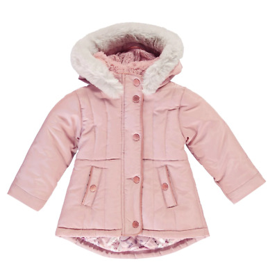 FIRETRAP Girls Rose Pink Faux Fur Hooded Luxe Parka Coat Jacket 5-6 Years BNWT