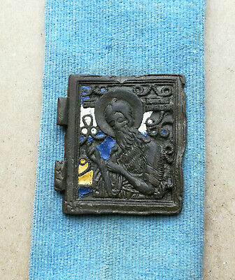 AUTHENTIC MEDIEVAL ENAMEL BRONZE ICON WITH St. John the Baptist VERY RARE