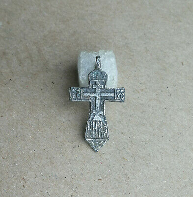 RARE 14-15th CENTURY SILVERED BRONZE ORTHODOX SWORD-SHAPED * CRUSADER'S * CROSS