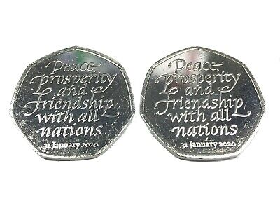2x Brexit 50p (2 Coins) Brand New Uncirculated 2020 Coins From Sealed Bag