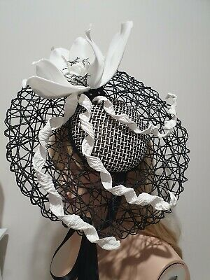 Fascinator millinery hat races wedding costume derby day white and black