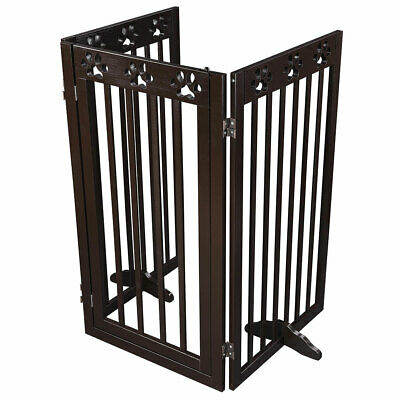 Folding Pet Gate Portable Wooden Retractable Dog Fence Wood Safety Expanding UK