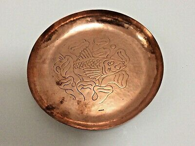 Marked Newlyn Heavy Guage Good Sized Copper Dish With Fish.