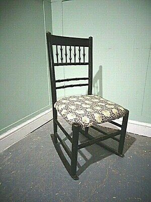 ANTIQUE ARTS & CRAFTS EBONISED NURSING CHAIR c1875-90 WILLIAM MORRIS FABRIC