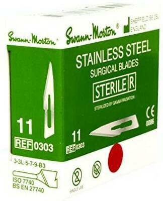 Swann Morton STERILE SURGICAL STAINLESS STEEL SCALPEL BLADES GREEN BOX
